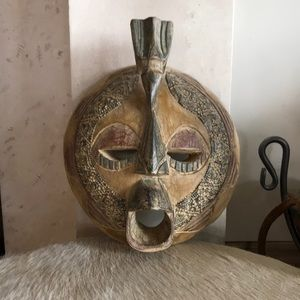 Hand Crafted Wood Myan Face Wall Sculpture